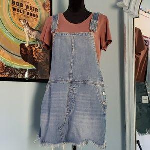 Torn Up Denim Overall Skirt
